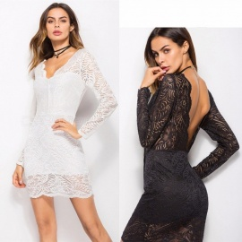 Sexy Deep V Back Lace Dress Hollow Out Long Sleeves Elegant V Neck Dress For Women Black/M