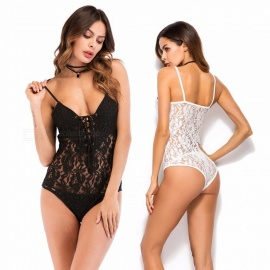 Sexy Lace Teddies Bodysuit Ladies Camisole Leotard Female Teddy For Women Black/M