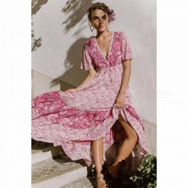Fashion Bohemia Style V Neck Floral Print Dress Stylish Maxi Dress For Women Pink/S