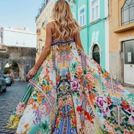 Summer Sexy Floral Print Maxi Dress Spaghetti Strap Dress Ladies Bohemia Style Beach Dress For Women Multi/S