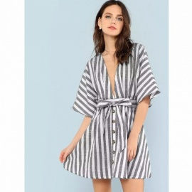 Fashion Deep V Neck Button Front Striped Dress Sexy Stylish Dress For Women Sky Blue/S