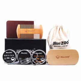 Bluezoo 1Set Beard Care Toiletry Kits Burlywood Double-sided Comb Sets 1 Beard Brush 3 Mustache Oil