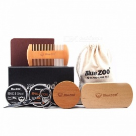 Bluezoo  1Set Beard Care Toiletry Kits Burlywood Double-sided Comb Sets 2 Beard Brush 2 Mustache Oil