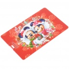 Festival Mickey & Minnie Pattern Card Style USB Flash Drive (8GB)