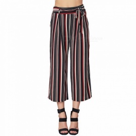 Summer Striped Wide-leg Loose Straight Women High-waist Feminine Elegant Bottoms Ankle-Length Pants Multi/S