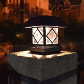 IP44 Waterproof Outdoor Solar Powered Light Sensor LED Wall Pillar Chapiter Post Lamp For Garden Courtyard White/0-5W