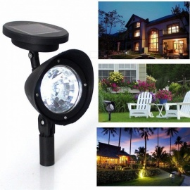 1Pc 3 LED Solar Light Home Garden Lawn Lamps Solar Powered Courtyard Lawn Spotlight Night Light Ground Light White/0-5W