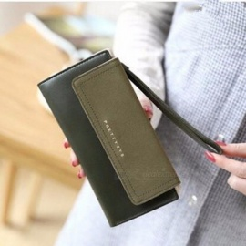 New Korean Version Women Fashion Wallet Cross Section Large-capacity Hasp Long Purse Standard Wallets Black