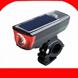 Solar Powered Bicycle Light With Bells, Cycling USB Charging Front Lamp, 350 Lumen 4-Mode Waterproof LED Bike Light Black