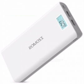 ROMOSS 20000mAh Mobile Power Bank, Portable Charger Dual USB External Battery With LCD Display For Mobile Phones White