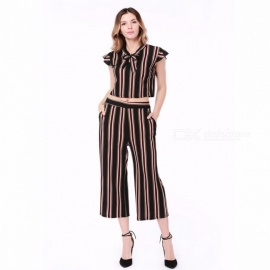 Women\'s Clothing Set Fashion Casual OL Temperament Stripe Short-Sleeved T-Shirt + Ankle-Length Pants, Two-piece Suit White/S