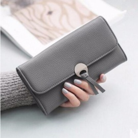 Simple Style PU Leather Long Wallet For Women, Hasp Purse / Phone Bag With Card Holder Black