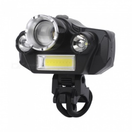 Portable USB Rechargeable 4-LED Super Bright Bicycle Front Lamp, Long Range Waterproof Bike Frontlamp Light Black