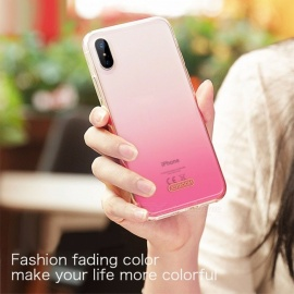 Phone Case For IPhone X 10, Gradient Color Ultra Thin Slim TPU Back Cover Case Shell For IPhone X Black/TPU