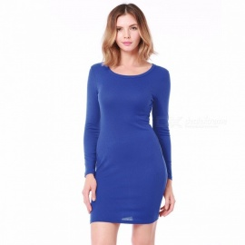 Slim Long-Sleeved Round Neck Knitted Dress, Hip Wrapped Sexy Pencil One-Piece Dress For Autumn Black/S