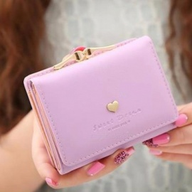 Short Section Ladies Purse, PU Leather Mini Envelope Wallet, Small Clutch Triple Folding Female Card Holder Wallet Purple
