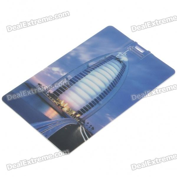 Stylish Burj Al Arab Hotel Pattern Card Style USB Flash Drive (4GB)