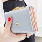 Short Section Ladies Purse, PU Leather Mini Envelope Wallet, Small Clutch Triple Folding Female Card Holder Wallet Sky Blue