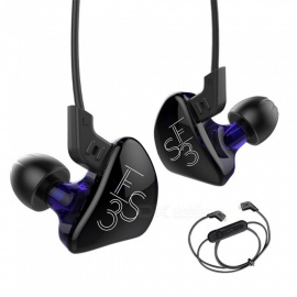 KZ ES3 Balanced Armature With Dynamic In-ear Earphone, Hybrid HiFi Headphone with Bluetooth Cable - Purple (No Microphone)