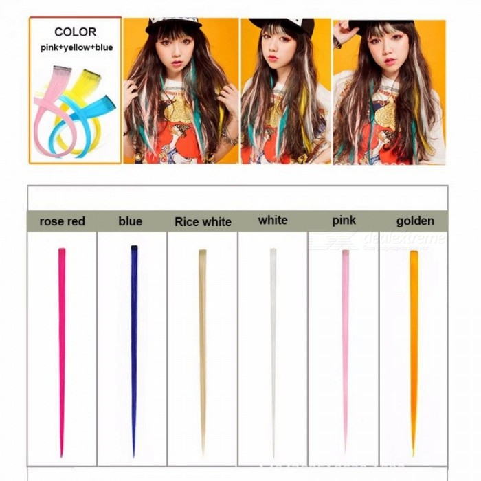5pcs Colored Highlight Synthetic Hair Extension Clip Spring Clip In