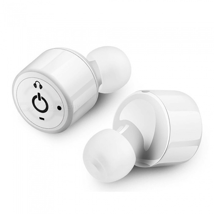 Measy X1T Bluetooth 4.2 Headphone, Mini Headset Noise-Cancelling Invisible  Twins Stereo Earphone with Mic - White