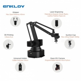 ENKLOV Universal Desktop Metallic Arm Gripper Holder Bracket and S1 PRO All Set Kit Black