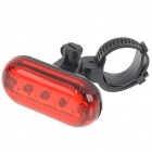 2-Mode 5-LED Safety Bike Tail Light with Mount - Red Light (2*AAA)