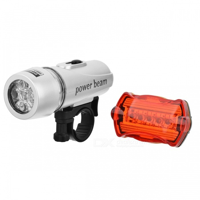 Bicycle Bike Safety Warning 5-LED Headlamp + Rear Tail Light Set with 2 Mount