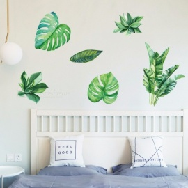 Home Decor Palm Leaves Wall Stickers Green Leaf Watercolor Ferns Decals Living Room Bedroom Decorative Murals Green