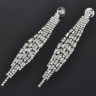 Elegant Crystal + Alloy Tassels Style Earrings - Silver (Pair)