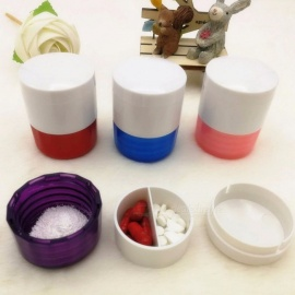 Pill Organizer Pills Container Portable Tablet Crushed Box Circular Grinding Powder Machine Storage Box Random Color