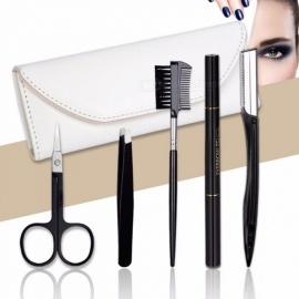 5Pcs/Set Eyebrow Makeup Tools Set Eyebrow Pencil Black Eye Brow Trimmer Tweezer Scissor Shaver Eyebrow Comb With Case
