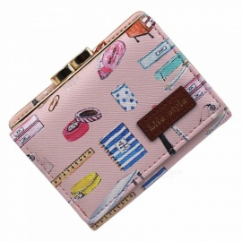 Cartoon Animals Bottles Printing Coin Purse Young Students Personality Purse With Card Holder Short Wallets For Women Black
