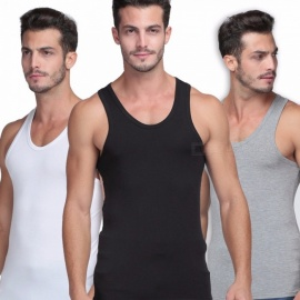 Mens Elastic Modal Tight Solid Vest Summer Slim Fit Sleeveless Tank Top Clothes For Casual Sports Fitness Black/XL