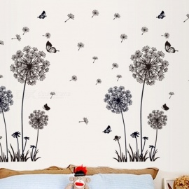 Black Romantic Dandelion Sofa Bedroom TV Background Sticker PVC Wall Stickers Black