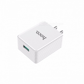 HOCO C34 18W Phone USB Charger Quick Charge Fast Mobile Phone Charger US Plug USB Travel Adapter For Huawei, Oppo White/US