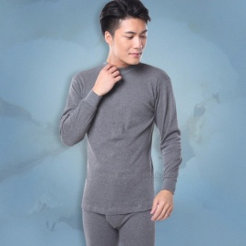 Fashion Mens Long Johns Set Autumn Winter Warm Semi-high Collar Soft Cotton Thin Top + Pants Thermal Underwear Set Gray/M
