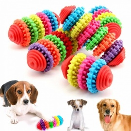 Pet Chew Toy Dog Toys Puppy Dental Teeth Gums Bite-Resistant Colorful Natural Rubber Tooth Cleaning Tools For Small Dog 3 Rings