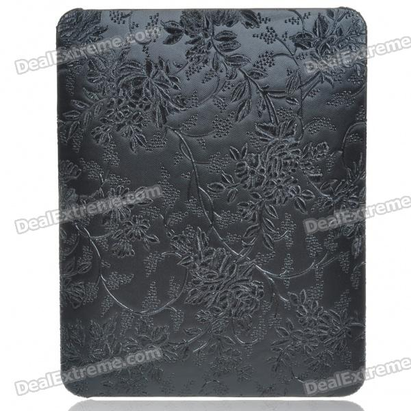 Protective Flower Pattern Hard Plastic Back Case for   Ipad - Black