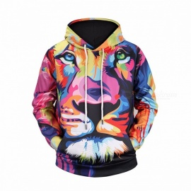 Autumn 3D Lion King Print Hoodies For Men Colorful Hip Hop Sweatshirts Long Sleeve Sweatshirt Multi/M