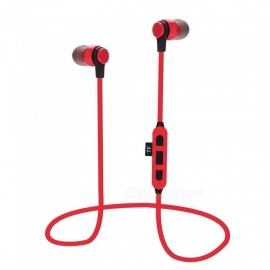 Metal Sports Bluetooth Headphone, Sweatproof Earphone Earpiece, Magnetic Stereo Wireless Headset, Supports TF Card Red