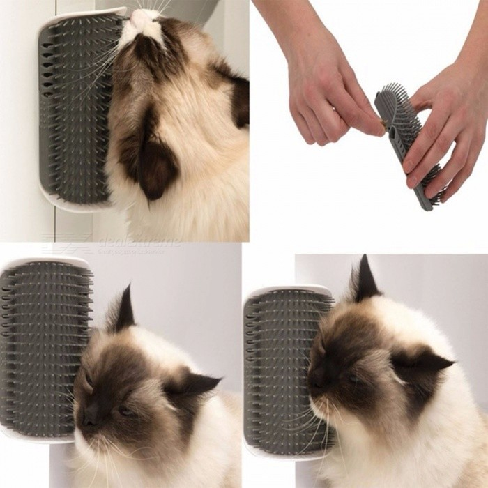 Lovely Pet Supplies Cat Massage Device, Self Groomer Cat Nip Pet Toy With Cat Brush Comb Pink