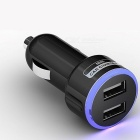 Universal Portable 5V 2.1A Fast Charge Dual USB Car Cigarette Lighter Slot Phone Charger Black/Universal