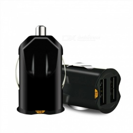 Portable Invisible Mini 2.1A Fast Charge Dual USB Car Cigarette Lighter Slot Phone Charger Black/Universal