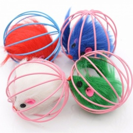 6 X 6cm Multiple Color Sphere Caged Rats Rolling Wire Cage Plush Mouse Ball, Funny Cat Toy, Cat Catches The Ball Puzzle S