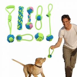 Cotton Dog Rope Toy, Knot Puppy Chew Teething Toy, Teeth Cleaning Pet Palying Ball For Small Medium Large Dogs Type 1
