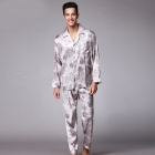Men\'s Stylish Pajama Set Pajamas Sleepwear Long Sleeves Shirt + Pants Set Loungewear Pyjamas Homewear RedL