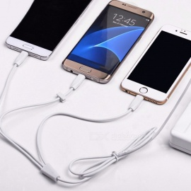 HOCO X1 1-to-3 USB To Lightning Type-C Micro USB Data Charging Cable For IPHONE Samsung Xiaomi White/1m