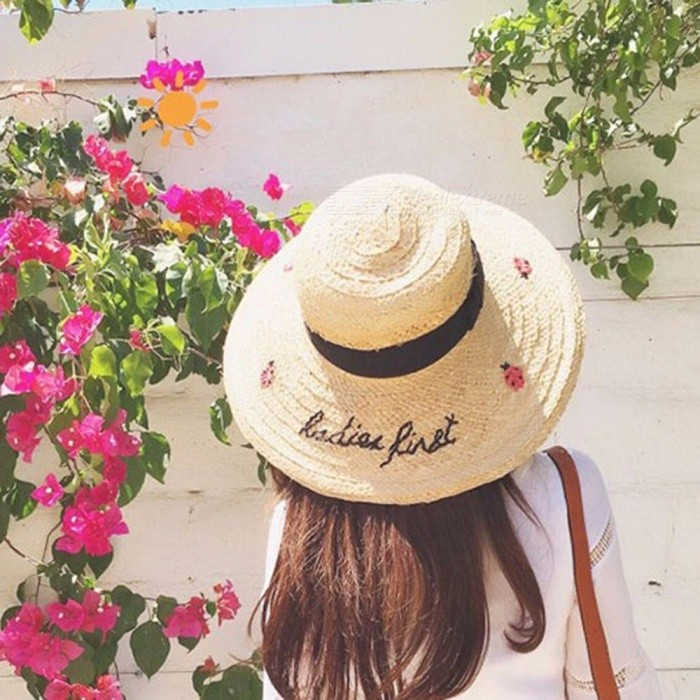 135fc78ba Ladybugs Embroidery Casual Summer Straw Sun Hats For Women Beach Hat Wide  Brim Vacation Travel Hat Shades Caps Beige