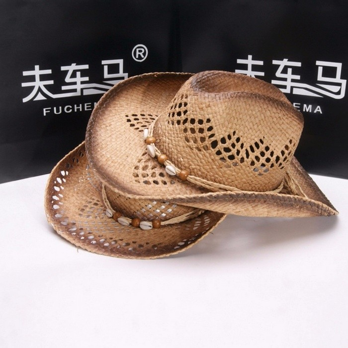 e89c96d5962 Stylish Summer Unisex Hollow Out Beads Cowboy Hat For Women Men Straw Curly  Brim Sun Hat For Beach Vacation Travel Brown - Worldwide Free Shipping - DX